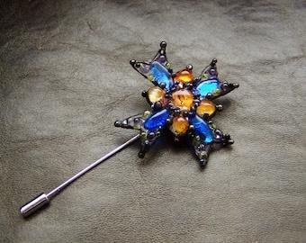 "Artistic Glass Cross Brooch ""Maltese cross"". Lampwork."