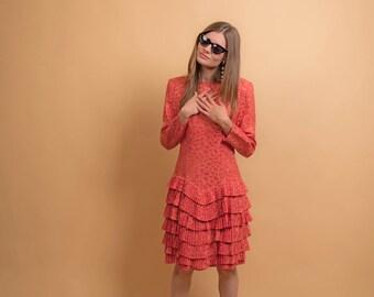 Vintage 80s Silk Ruffle Dress / Silk Polka Dot Dress / Ruffle Hem Dress / Jacquard Silk Dress Δ size: S/M