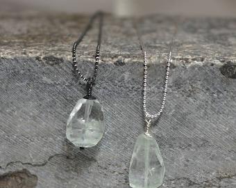 Womans silver, Auqamarine, necklace, sterling silver, rocker, boho, artisan, raw, gothic, spiritual, minimalist, free worldwide shipping!