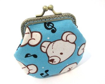 Light blue coin purse, little girl purse with bear print cotton fabric, bronze kiss lock clasp purse, metal frame pouch
