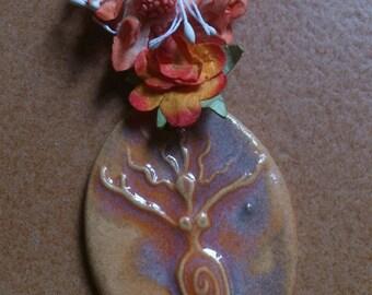 necklace tribal ethnic , fertility amulet woman, orange and purple ceramic