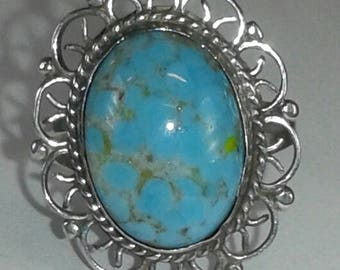Turquoise like gemstone antique ring sterling silver 925