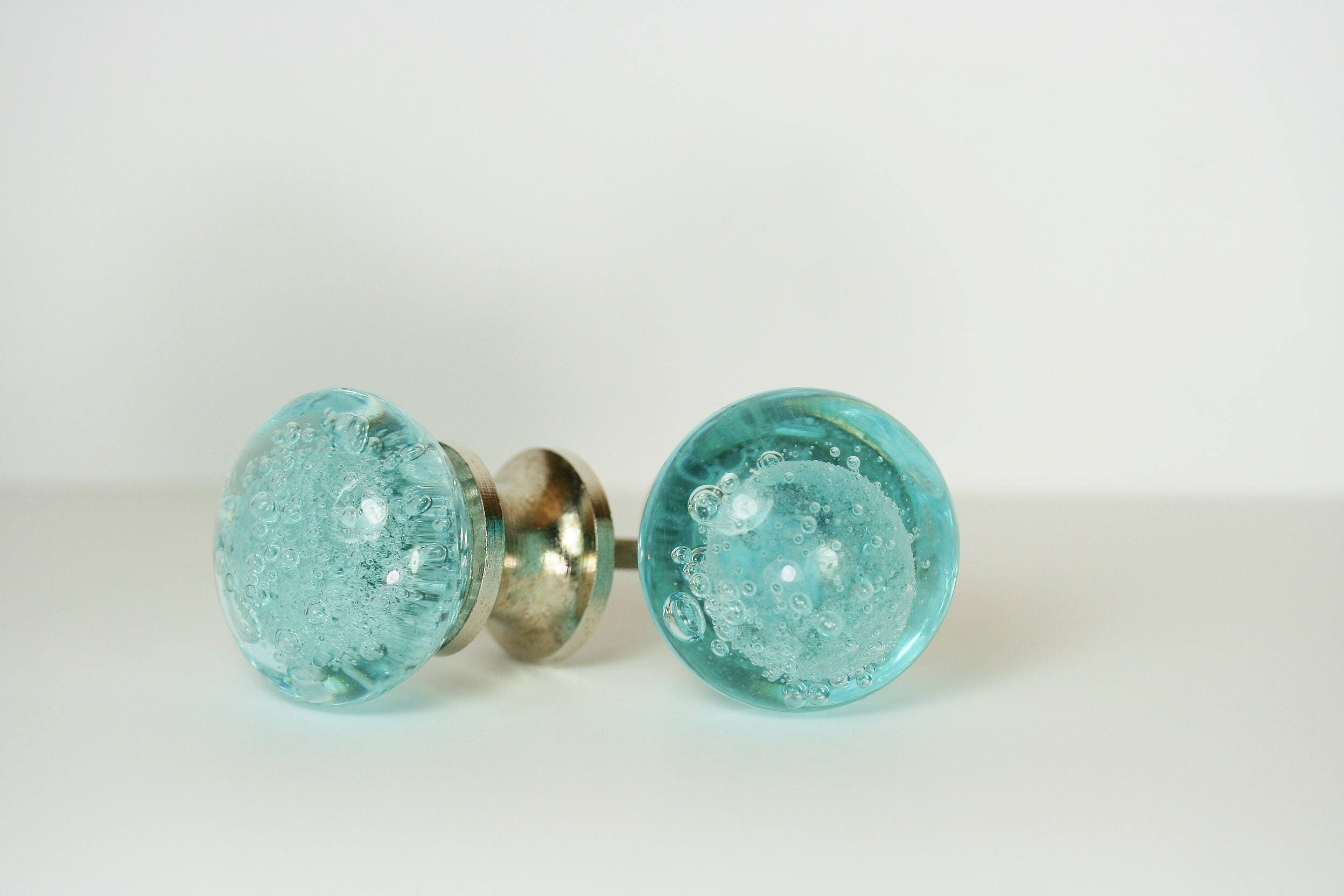 Blue Glass Drawer Knob Drawer Pull Blue Bubbles Drawer Pull ...