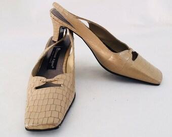 Classy  90's  Etienne Aigner Faux Animal Skin Slingback High Heel Shoes  SZ 8 1/2 M GENTLY WORN!