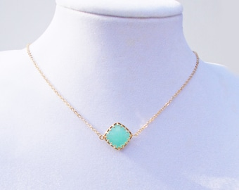 Mint Pop 16K Gold Plated Stacking Necklace - BridesMaid Gift - Gemstone Necklace - Turquoise Necklace