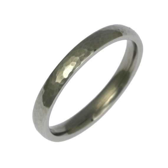 3mm Hammered Stainless Steel Mens Comfort Fit Wedding Band