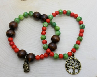 Green and Red Wood Beaded Bracelet Stack, Beaded Bracelets, Stretchy Bracelets, Buddha, Natural Wood, Boho, Beaded Jewelry, Gifts for Her