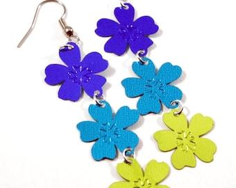 Hawaii Luau Earrings Blue Teal & Green Tropical Flowers Dangling Plastic Sequins