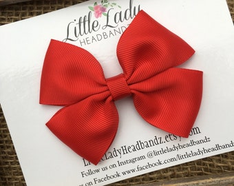 Red Bow red Boutique Bow red hair bow girls ribbon bow large bow