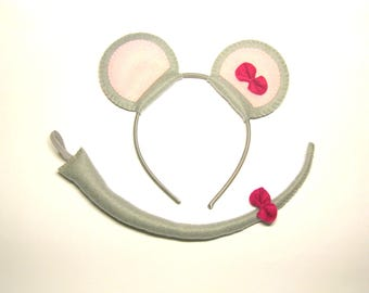 Mouse ears headband tail set Grey felt mask pink bow birthday animal party favors cute soft costume accessory Gift for girl kids