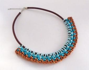 Turquoise Necklace, Tribal Necklace, Unique Necklace, Fiber Jewelry, Fabric Necklace, Crochet Necklace, Statement Necklace, Bib Necklace