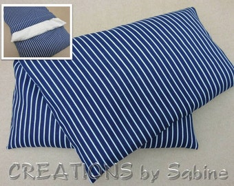 Corn Heating Pack Microwave Pillow Washable Cover Hot Cold Wrap Blue White Stripes Pinstripe Nautical Masculine Gift READY TO SHIP (525)
