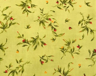 Catalina Red/Yellow/Pink/Peach Rosebuds on Green by Maywood Quilting Fabric by the Half Yard