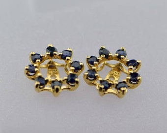 14K Yellow Gold Blue Sapphire Earring Jackets, 1 ct. tw.