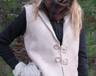 ON SALE/ Vegan Faux Suede and Fleece Vest