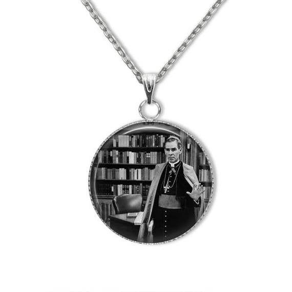 Fulton Sheen Necklace, Stainless steel with stainless steel necklace . Venerable Archbishop Fulton Sheen Pendant