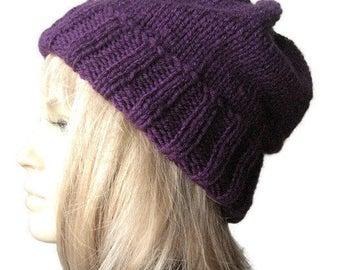 Hand Knit Hat, Watchman Cap Slouchy Hat, Vegan Knits, Winter Fashion, Mens Hat, The Alex Hat, Womens Hat