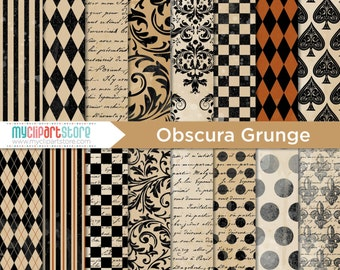 Digital Paper - Gothic, Obscura Carnival with Grunge Texture, Scrapbook Paper, Digital Pattern, Commercial Use, JPEG