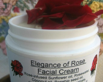 Facial Moisturizing Cream, Organic Face Cream, Sensitive Skin, Elegance of Rose, Roses, Day or Night Cream