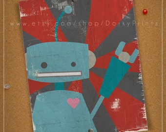 Blue Robot Printable Art  - PDF Printable File - fun kids room decor