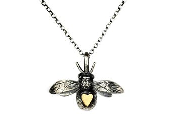 bee necklace, 9ct gold heart bee, handmade bumblebee jewellery,honey bee necklace, gold heart necklace, gift for her, nature jewellery, UK