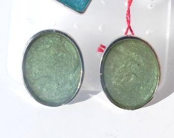 Mystic green stainless oval Metal earring