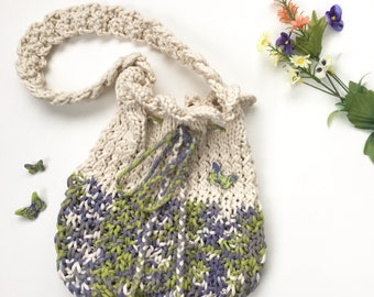 Girl's Drawstring Purse in Cream and Multi-Spring Colour