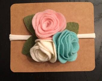 Rose Felt Flower Headband-Infant-Toddler-Baby Girl- Nylon Headband-Pink,Cream & Turquoise