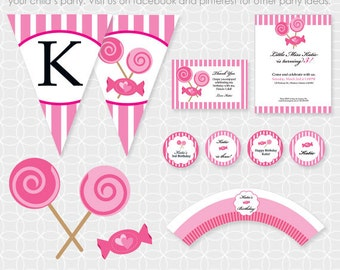 Party Printable Pink Candy Party Theme Basic Package - Personalized Printable - lollipop, candy shop, candy store, girl
