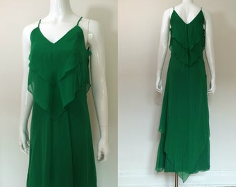 Vintage 1970s Green Chiffon Layered Maxi Dress