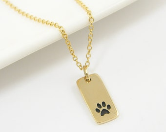 Gold Paw Print Necklace Paw Print Charm Necklace, Pet Memorial Necklace Gold Paw Charm Animal Jewelry 14KT Gold Filled Chain |NG1-13
