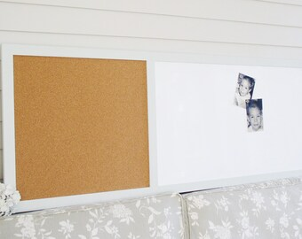 EXECUTIVE Cork Board and Magnetic Dry Erase Message Center 23x60 in Bulletin Board Handmade Frame Pale Gray Modern Style CHOOSE FRAME color
