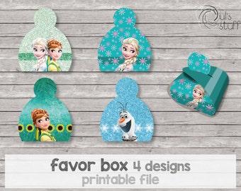 Printable Frozen Fever favor box.