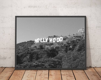 Hollywood Sign Printable Wall Art - Digital Download - Black and White Photography