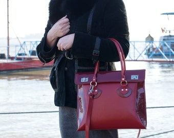 RED LEATHER TOTE Bag, Leather Shoulder Bag, Leather Handbag, Leather Tote, Leather Bag, Leather Purse, Woman leather bag