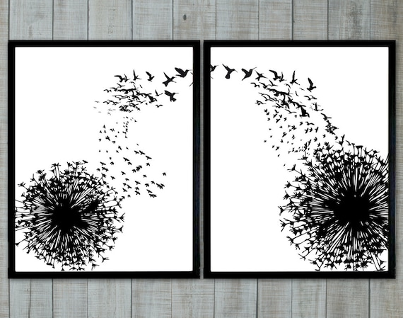 Dandelion and birds black and white wallart