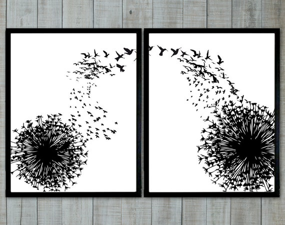 Dandelion and birds black and white wallart altavistaventures Choice Image