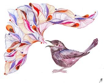 Singing Wren watercolor bird art print, size 7x5 (No. 48s)