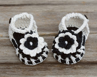 Baby Sandals, Crochet Baby Girl Sandals, Black and Off-White Flower Sandals, Simply Summer Sandals, Gift