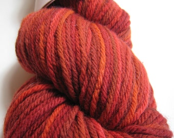 Autumn Fire - red orange worsted superwash merino yarn