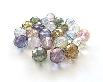Huge Faceted Czech Glass Translucent Pastel Luster Mix Beads, 12mm - 15 pieces