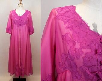 1960s Peignoir Robe / St Michael Lingerie / Nylon Bed Jacket / Hot Pink /  1960s Lingerie / 60s Nightwear / Size Medium - Large / M L XL