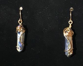 Wire wrapped Rainbow earrings