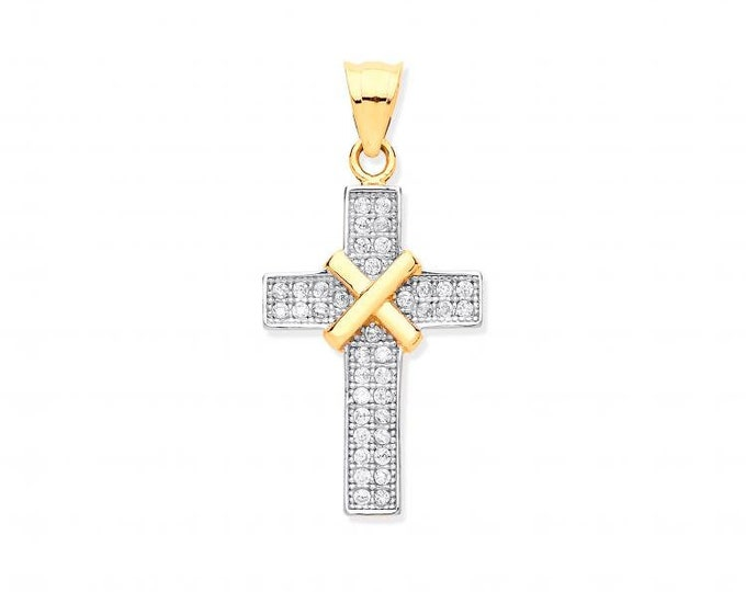 9ct Yellow Gold 2.5cm Micro Pave Cz Kiss Cross Pendant Hallmarked