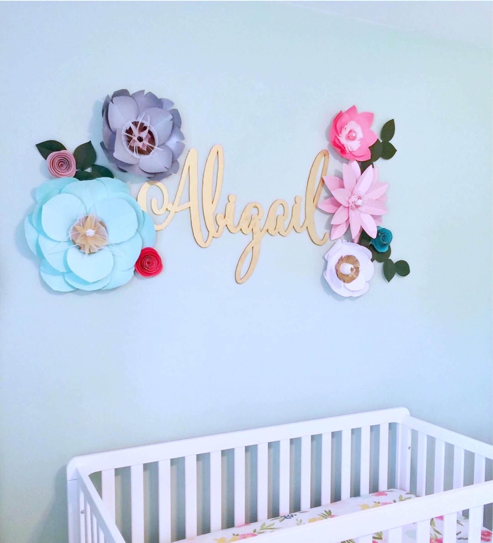 Mint Paper Flowers Wall Decor Gray Nursery Girl Pink Bedroom Coral Backdrop Wedding