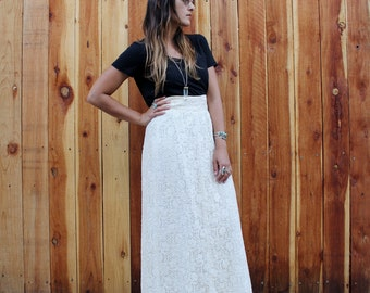 Vintage 60s High Waist LACE MAXI Skirt XS
