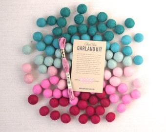 Felt Pom-Poms // Sweetheart Ombre - Optional Garland Kit // Felt Balls, Pink Craft Supplies, Valentine Garland, Ombre Crafts, Valentine Kit