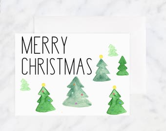 Merry Christmas Cards - Christmas Tree Christmas Card - Holiday Card - Greeting Cards - Illustrated Cards - Blank Cards - Watercolor Cards