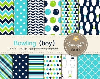 50% OFF Bowling Boy digital paper for Birthday, Baptism, Wedding, digital Scrapbooking, Invitations, Bowling party