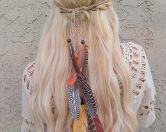 Feather Headband - Feather Extensions - Woodland Feathers - Festival Headband - Hippie Headband - Hair Accessories - Bohemian - Tribal
